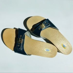 Dr. Scholl's wooden sandals in navy